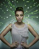 foto of fine art portrait  - Fine art portrait of a stunning brunette beauty - JPG