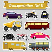 stock photo of transportation icons  - Set of all types of transport icon  for creating your own infographics or maps - JPG