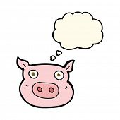 image of pig head  - cartoon pig face with thought bubble - JPG