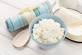 image of curd  - Dairy products on wooden table - JPG