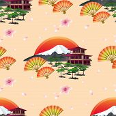 picture of tree house  - Beautiful golden background seamless pattern with blossoming pink sakura  - JPG