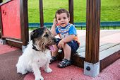 pic of baby dog  - portrait of baby with little dog on the playground - JPG