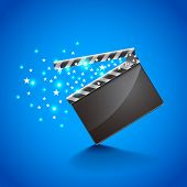 stock photo of clapper board  - Movie clapper board on blue background photo realistic vector - JPG