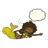 picture of mermaid  - cartoon mermaid covered in tattoos with thought bubble - JPG