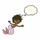foto of mermaid  - cartoon mermaid with thought bubble - JPG