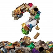 image of waste reduction  - Recycle garbage questions and reusable waste management solutions or confusion concept as old paper glass metal and plastic household products shaped as a question mark as a symbol of environmental conservation of material - JPG