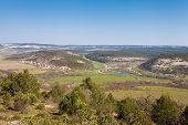 stock photo of crimea  - Nice view of the lake and the mountain village of Gasfort morning - JPG