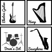 pic of wind instrument  - Set of silhouettes of musical instruments - JPG
