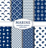 stock photo of navy anchor  - Set of sea and nautical backgrounds in navy blue and white colors - JPG