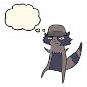 image of raccoon  - cartoon raccoon with thought bubble - JPG