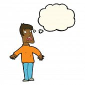 picture of terrifying  - cartoon terrified man with thought bubble - JPG