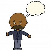 image of bald man  - cartoon bald man with open arms with thought bubble - JPG