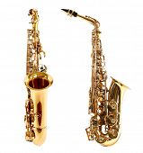 picture of saxophones  - Golden saxophones isolated on white - JPG