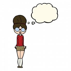 stock photo of librarian  - cartoon librarian woman with thought bubble - JPG