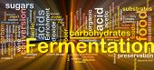 Background concept wordcloud illustration of fermentation food process  glowing light