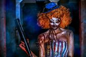 Постер, плакат: Evil clown murderer stained in blood Female zombie clown Halloween Horror