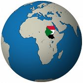 Sudan Flag On Globe Map