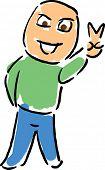 Постер, плакат: Мультфильм человек мигает победы или мира рука сигнал иллюстрации