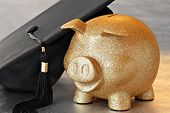Higher education conceptual image of gold piggy bank with graduation cap on reflective surface.  Mac