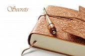 Elegant leather journal with calligraphy pen on white background.  Macro with shallow dof and copy s