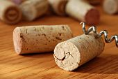 Wine corks with corkscrew on wooden table in warm natural lighting.  Macro with extremely shallow do