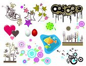 stock photo of easter flowers  - Design elements circlesstars heartsegg fish clover flowers - JPG