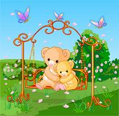 Two cute bears on seesaw in spring day.