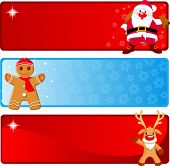 Vector Christmas Banners with Santa Claus, Gingerbread and