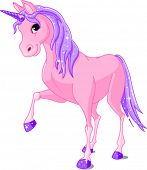 Vector Illustration of beautiful pink Unicorn.