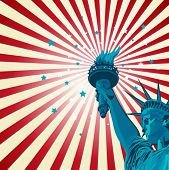 An radial poster with the statue of liberty