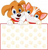 image of droopy  - Cat and dog holding sign  - JPG