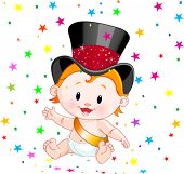 foto of new years baby  - Cute baby in a top hat with party confetti - JPG