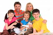 image of mother child  - Happy family with pets - JPG