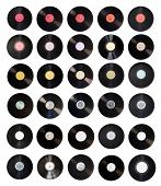 Old vinyl records collection isolated on white background with clipping path