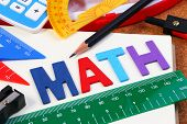 School Math Office Supplies. Wood Letters As Math Word With Mathematics Drawing Icon. Math Concept. poster