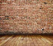 stock photo of interior  - old interior with brick wall - JPG