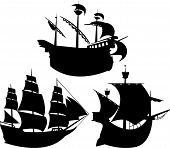 Sailing vessel silhouettes set
