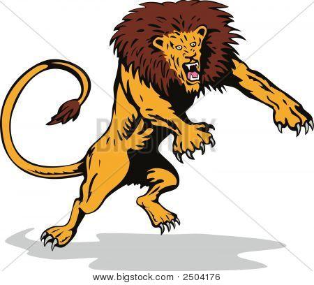 Ferocious Lion Attacking poster