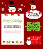 Templates for  Christmas greeting card, gift tag, label or sticker.  vector illustration - absolutely edited