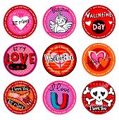 Vector  Valentine's  badges or drink coasters.