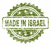 Made In Israel Stamp Seal Watermark With Scratched Style. Green Vector Rubber Print Of Made In Israe poster