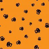 Head Zombie Halloween Pattern Seamless. Vector Illustration. Black Zombie Orange Background. All Sai poster