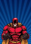 Illustration Of Raging Superhero On Abstract Background With Ray Light. poster