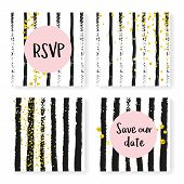 Wedding Confetti With Stripes. Invitation Set. Gold Hearts And Dots On Black And White Background. T poster