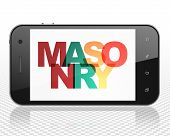 Constructing Concept: Smartphone With Painted Multicolor Text Masonry On Display, 3d Rendering poster