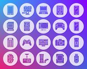 Device Icons Set. Web Sign Kit Of Gadget. Electronics Pictogram Collection Includes Laptop, Camera,  poster