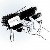 Drawn Hand Holding Banner on Grunge Background