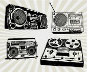 stock photo of rap  - Some Hand Drawn Retro Tape Recorders - JPG