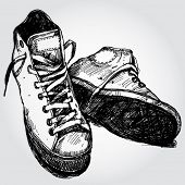 Hand Drawn Illustration of Stylish Sneakers