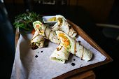Chicken Salad Wrap Or Salad Wrap With Mustard poster